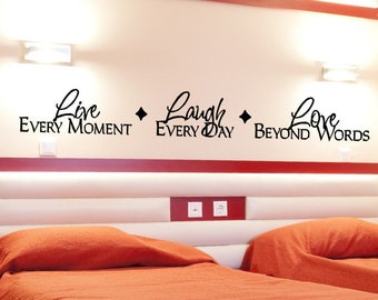 Master Bedroom Wall Decal Live Laugh Love Wall Decor Decorations Wall Sticker Wall Art Live Every Moment Removable Vinyl Lettering Decal