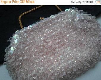 ON SALE Vintage La Regale Beaded Clutch Purse, 1950s 1960s Collectible Hong Kong Pink Beaded Old Hollywood Glam Black Tie Formal Handbag Bag