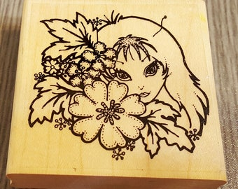 Peeking Pixie Girl Rubber Stamp from Leigh's Wishing Well