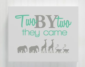 Two By Two They Came Canvas, Twin Nursery Decor, Twin Baby Gift, Twin Nursery Art Canvas, Twin Girl Twin Boy Boy Girl Twins Twin Baby Shower