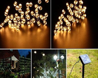 200 Solar powered LED lights - 72 feet long - Warm White - 8 Modes  - USA Seller - Super Fast Shipping
