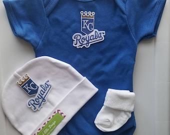 kansas city royals baby outfit-kc royals newborn/baby kc royals-kc royals baby shower gift-kc royals baby/newborn kc royals/royals baby