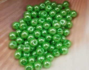 4mm Glass Pearls - Bright Green - 100 pieces - Bright Mint - Grass - Clover - Wedding