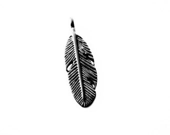 Ebony black color metal feather charm