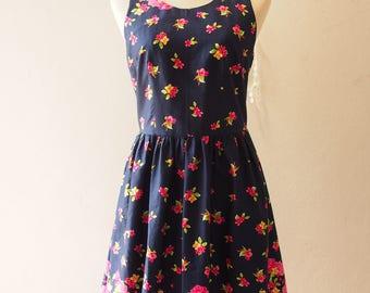 USD20 SALE - Size S-Navy Vintage Sundress Summer Dress In the Wonderland Cut Off Back Backless Dress Cute Sweet Sexy Tea Party Dress