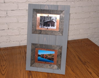 Pine and Copper Layered Picture Frame for two 3.5x5 Photos