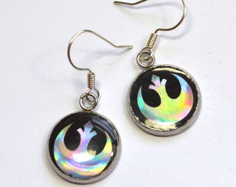 Star Wars Rebel Alliance Sci Fi Holo Holographic Resin Earrings