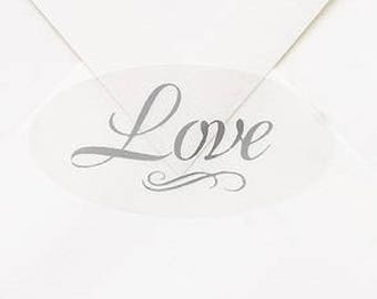 Silver Love Wedding Envelope Seals (Set of 25) Wedding Stickers