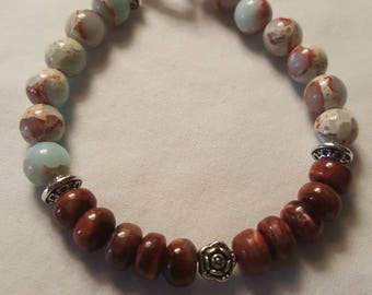 Natural Aqua Terra Jasper with Burgundy Coral beaded bracelet.