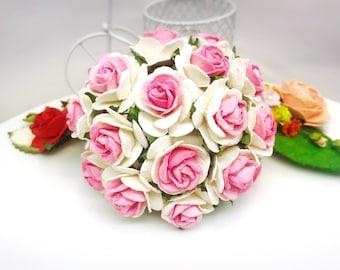 25 pcs. white pink Rose Mulberry Paper Flower Craft Handmade Wedding 25 mm Scrapbook #822