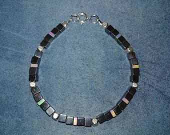 Hemetite block bracelet