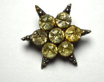 Victorian paste Star Brooch Early 1900s Sterling Marked 048