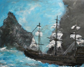 Seascape sailing ship oil painting