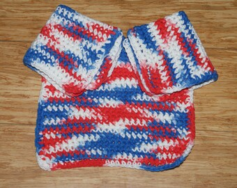 Set of 3 Red White and Blue Crochet Dishcloths  All Cotton