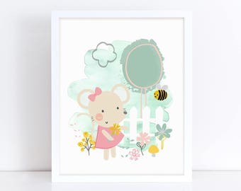 Mouse Art Print, Mouse Print, Cute Animal Print, Baby Shower Gifts, Play Room Decor, Girls Room Decor, Pink Nursery Decor, Printable Art