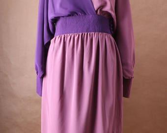 Adele Simpson Bi-color Wrap Dress c. 1975