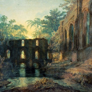 "Joseph Mallord William Turner: ""le dortoir et le Transept de l'abbaye de fontaines — Evening"" (1798) - Giclee Fine Art Print"
