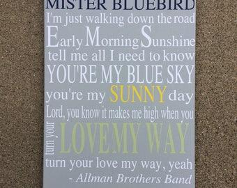 Mister Bluebird Canvas, Song Lyric Canvas Art, custom song lyric