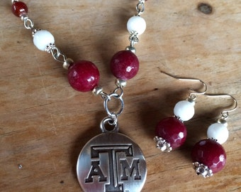 Texas A&M pendant beaded necklace, handmade with genuine jade faceted beads