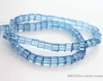 4mm Light Blue Glass Cube Beads 30cm Strand, Approx 74 Beads for Jewelry Making (BGS020)