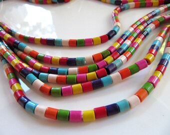4mm Imitation Turquoise Tube Beads in Mixed Rainbow Colors, 1 Strand, 16 Inches, Approx 105 Pieces, Barrel Beads, Man Made