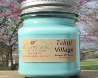TAHITI VILLAGE SOY Candle - Vanilla Candles - Coconut Candles - Patchouli Candles - Oak Wood Leaves Soy Candles