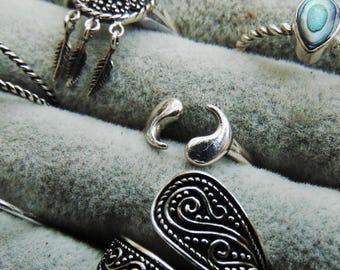 Yin Yang Spiritual Balance Sterling Silver Adjustable Ring