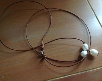 Pearl and Leather Necklace  3 Freshwater Oval Pearls Leather Adjustable Necklace Minimalist