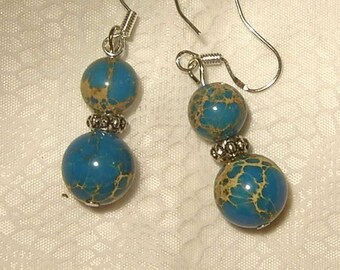 Cynthia Lynn Rustic Southwest BLUE Turkey TURQUOISE 925 SILVER Fish Hook Earrings