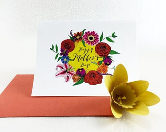 Happy Mother's Day Garden Gouache Illustration Card