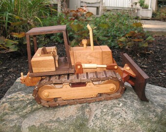 Hand Crafted Wooden Bulldozer