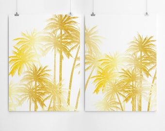 Gold Palm Tree Print Gold Wall Art Set Of 2 Prints Gold Palm Tree Art Palm Tree Wall Art Print Set Of 2 Wall Prints Gold Wall Art Prints