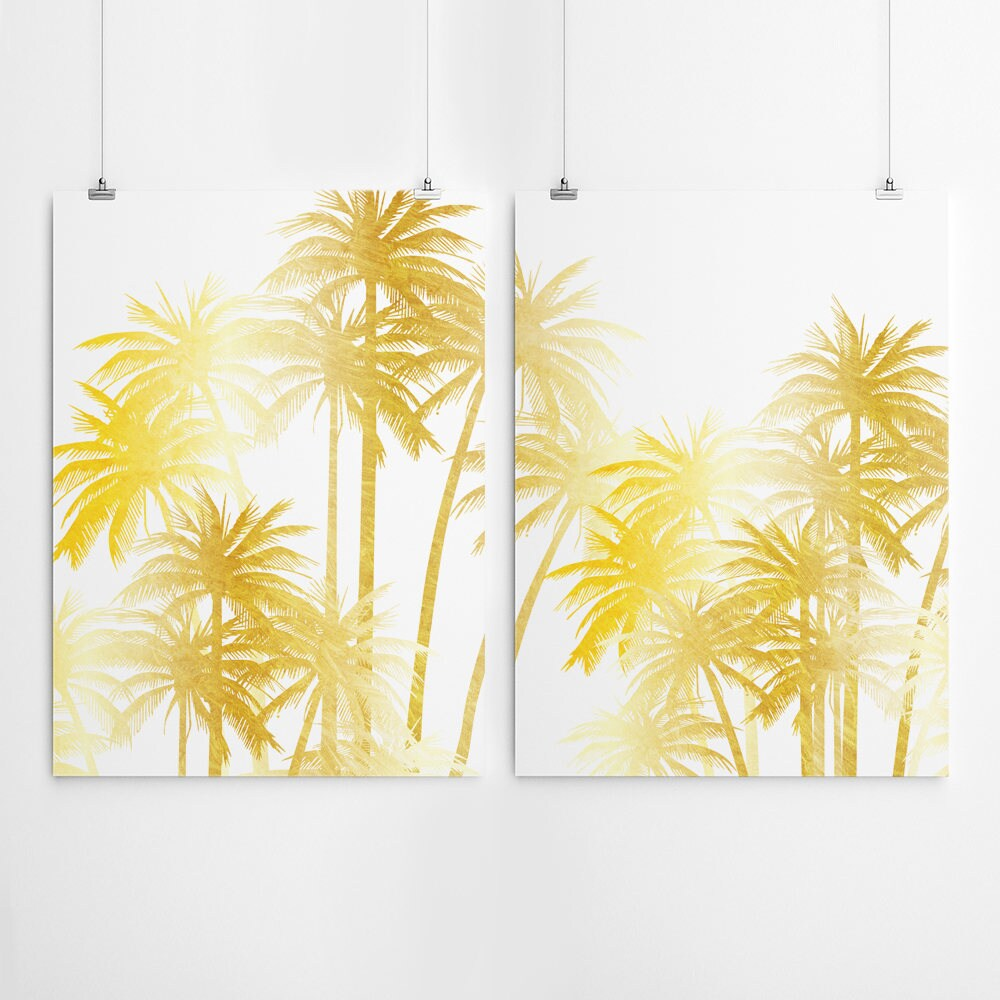 Gold Palm Tree Print Gold Wall Art Set Of 2 Prints Gold Palm