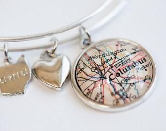 Custom Silver Map Charm Bracelet - Map Bracelet - Wanderlust Bracelet - Travel Bracelet - Graduation Gift - Bridesmaid Gift - Gift for Her