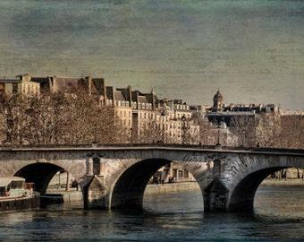Paris Photography, Seine River,Paris photography paris bridge, wall art paris decor travel  Neutral, Beige Art