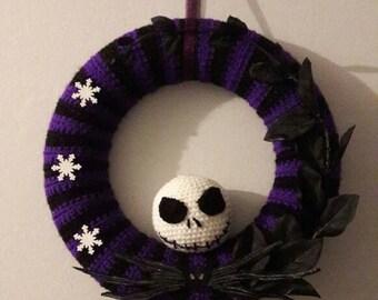 Nightmare before christmas jack skellington wreath .handmade to order. crocheted