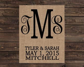 Burlap Print Personalized Monogram Wall Sign Home Decor Fabric Art Wedding Gift (#1405B)