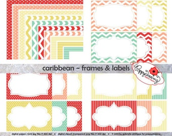 Caribbean Frames & Labels: Clip Art Pack Card Making Digital Frames Page Borders Chevron Dots Stripes