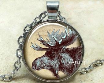 Moose necklace etsy moose pendant moose necklace moose jewelry woodland animals pendant woodland creatures pendant forest animals pendant pendant an207p aloadofball Images