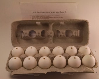 "12 eggs -  12 MEDIUM ""blown"" chicken eggs - for Crafting and Easter Egg Hunt"