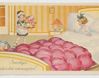 Breakfast in Bed Hungarian Postcard, 1952