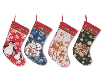 "18"" Set of 4 Polar Bears, Rudolph, Penguins and Gingerbread Man Christmas Stockings"