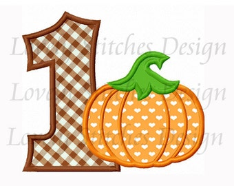 Thanksgiving Pumpkin With Number 1 Applique Machine Embroidery Design NO:0220