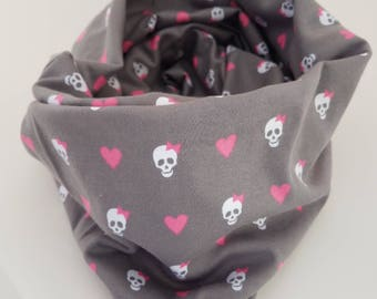 Jersey knit grey infinity scarf with skulls and pink bows