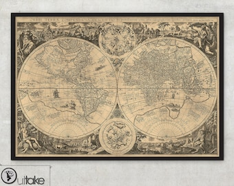 Rare old World map print (1596)  - World map art HUGE Archival Print - Historical maps - LARGE World map - Home decor art print - 024