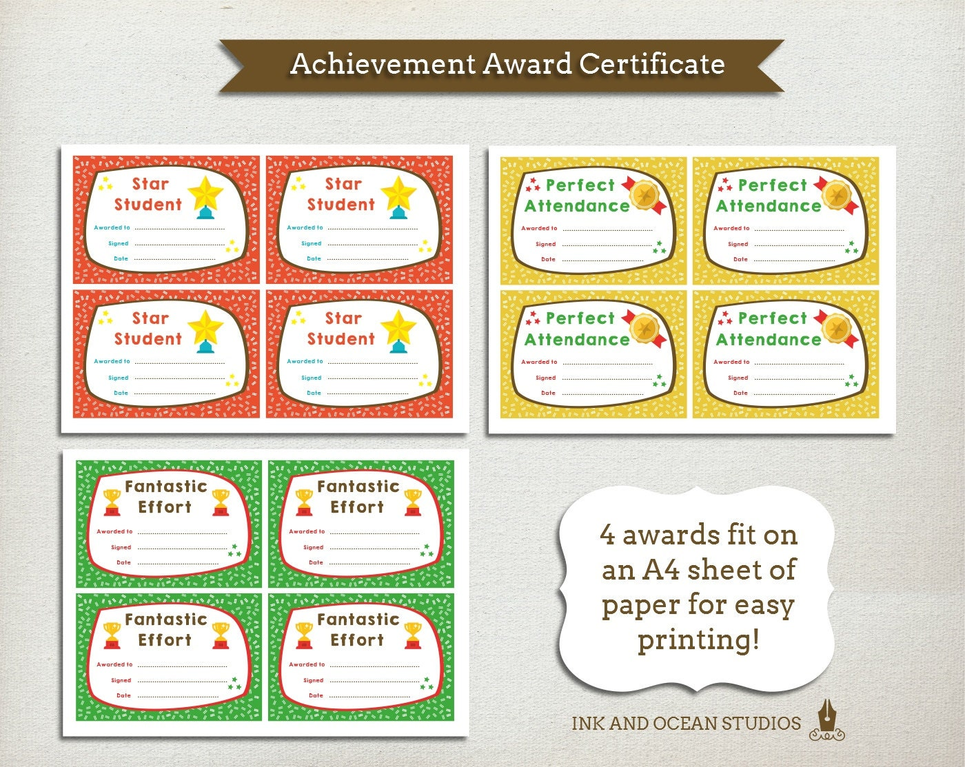 achievement awards for elementary students