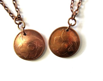 African Coin Necklace Authentic South Africa South Afrika Coin 5 Cents Copper Domed Coin Pendant Handmade Jewelry by Hendywood