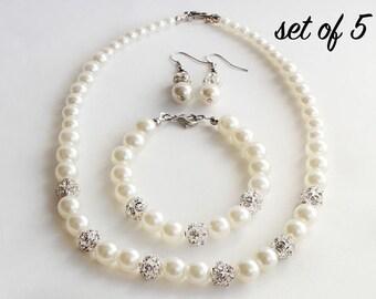 Bridesmaid jewelry set of 5, wedding jewelry set, ivory pearl bridesmaid set, pearl jewelry, bridal jewelry, wedding gift, bridesmaid gift