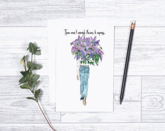 "Lilac Blooms Card - Gifts for her - 4""x6"" - Individual - Love - There Aren't Enough Flowers to Express - Encouragement - Purple Lilacs"