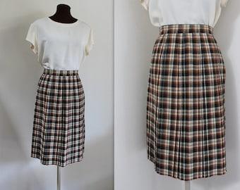 1950s Skirt / Plaid Skirt / Pleated Skirt (xs-s)